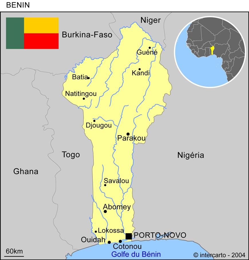 Carte Bénin
